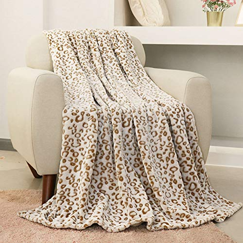 FY FIBER HOUSE Flannel Fleece Throw Blanket, Lightweight Cozy Plush Microfiber Bedspreads for Adults,60 by 80-Inch,Brown Leopard (Fleece Throws)