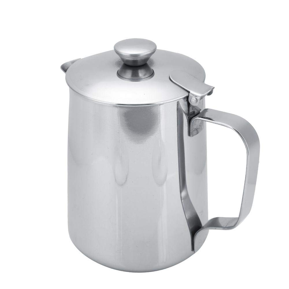 Stainless Steel Coffee Cup Mug Milk Frothing Pitcher Jug with Lid for Latte Coffee Art for Office Kitchen(600mL) by Fdit