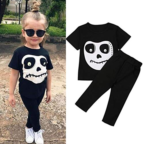OWMEOT Boys Girls Kids Halloween Pajama Skeleton Costume Outfit Pants Set (Black, -