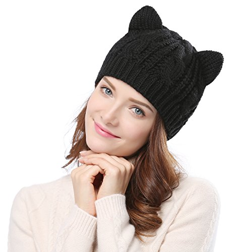 Bellady Women s Hat Cat Ear Crochet Braided Knit Caps 9302a83be278