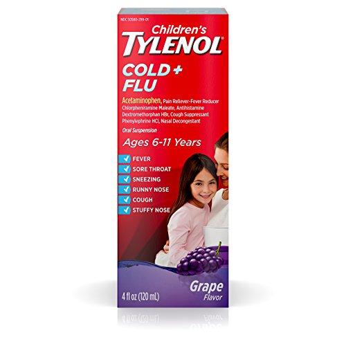 Children's Tylenol Cold and Flu Oral Suspension Kids' Cold and Flu Medicine, Grape, 4 Fl. ()