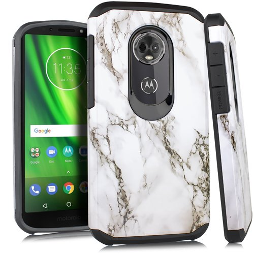 brand new 78f8f 6143a Fit Moto E5 Cruise/Motorola Moto E5 Play Case Slim Fit Defender Protective  Phone Cover with Screen Protector and Stylus (White Marble)