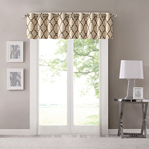 Saratoga Fretwork Print Contemporary Modern Floral Valance , Geometric Beige Valances for Windows , 50X18