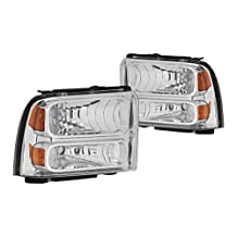 DNA Motoring HL-OH-FSUPER05-CH-AM Headlight Assembly (Driver and Passenger Side)