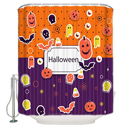Shower Curtain Art Print Polyester Fabric Halloween Cartoon Pumpkin Eyeball and Bats Decorative Waterproof Machine Washable Bathroom Curtains, Hooks Included, 72