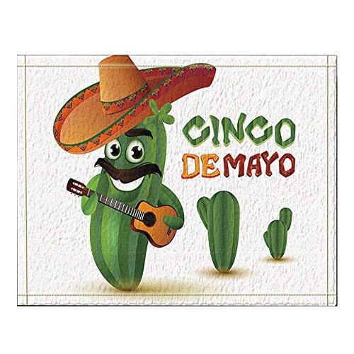 Cinco De Mayo Decor Mexican Fun Cactus in Sombrero Plays Guitar Bath Rugs Non-Slip Floor Entryways Outdoor Indoor Front Door Mat,16X24 Inches Bath Mat