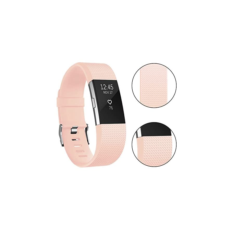 Vancle Fitbit Charge 2 Bands, Classic Edition Adjustable Comfortable Replacement Strap for Fit bit Charge 2 (No Tracker) (1PC (Blush Pink), Large)