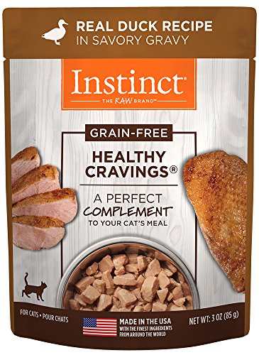 Instinct Healthy Cravings GrainFree Real Duck Recipe Natural Wet Cat Food Topper by Nature's Variety 3 oz Pouches Case of 24