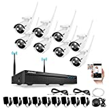 ANNKE 8CH 720P HD Wireless Security System, Network WIFI NVR Kit and (8) 1.0 Megapixel Wireless Outdoor Bullet IP Cameras, Up to 100ft Night Vision with Smart IR Cut, NO HDD