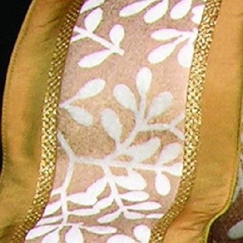 Shimmering Ivory and Gold Velvet Taffeta Wired Edged Leaves Print Ribbon