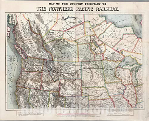 (Historic Map | Map of The Country Tributary To The Northern Pacific Railroad, 1871 | Vintage Wall Art | 44in x 36in)