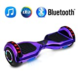 NHT 6.5' Chrome Hoverboard Electric Smart Self Balancing Scooter with Bluetooth Speaker & Sidelights - UL2272 Certified, Chrome Purple