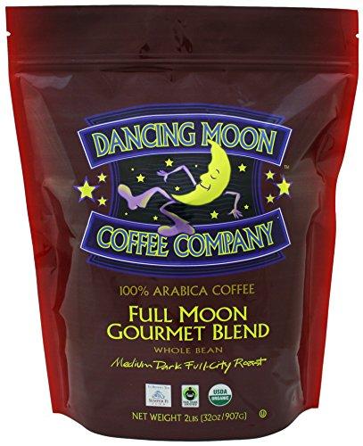 Dancing Moon Full Moon Gourmet Blend Whole Bean Organic Fair Trade Coffee, 2 lbs.