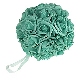 Soft Touch Foam Rose Flower Kissing Ball Wedding Centerpiece, 7-inch 19