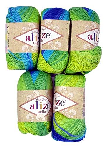 Knitting Crochet DIY Alize Bella 5 x 50 g 32 Pink| Wool 100/% cotton