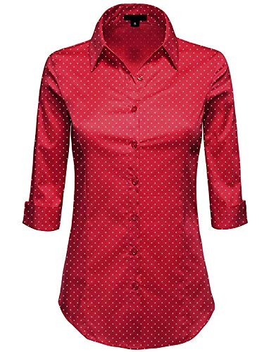 MAYSIX APPAREL Plus Size 3/4 Sleeve Stretchy Button Down Collar Office Formal Shirt Blouse for Women REDDOT - Blouse 3/4 Top Sleeve