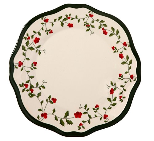 Melange 6-Piece 100% Melamine Dinner Plate Set (Holiday Berry Collection ) | Shatter-Proof and Chip-Resistant Melamine Dinner Plates -