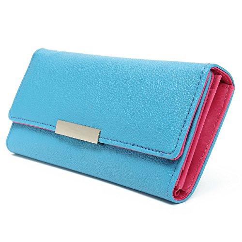 OURBAG Women PU Leather Clutch Wallet Envelope Purse Credit Card Holder Long Purse Blue - Zipper Cash Envelopes