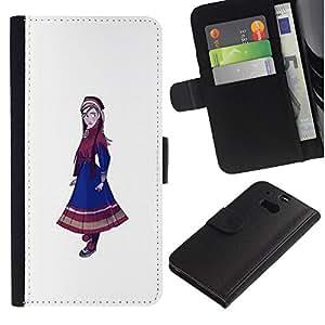 Be-Star la tarjeta de Crédito Slots PU Funda de cuero Monedero caso cubierta de piel Para HTC One M8 ( Native National Dress Girl Blue Art Painting )