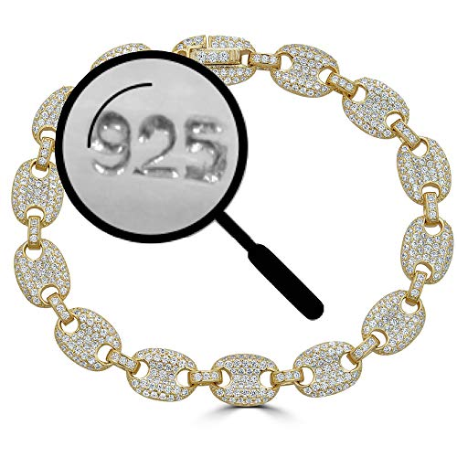 - Solid 925 Sterling Silver - 14k Gold Plated - Iced Out Puffed Mariner Link Bracelet - 8mm Link - ICY Bust Down for Men Or Women (8)