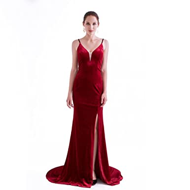 France CG Womens Velvet Evening Gown V Neck Side Slit Prom Dress Sexy Cocktai Party Maxi