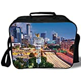 Insulated Lunch Bag,United States,Atlanta Georgia Urban Busy Town with Skyscrapers City Landscape Decorative,Light Blue Yellow Coral,for Work/School/Picnic, Grey