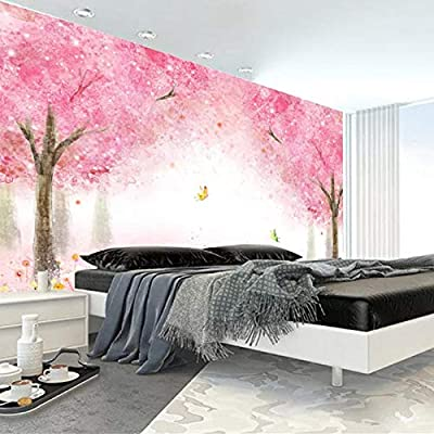 BNUIBOIUZ 3D Wallpaper Pink Romantic Cherry Blossoms Tree ...
