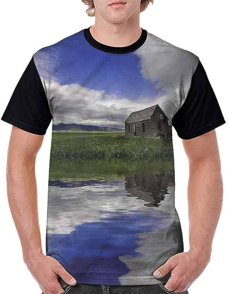 BlountDecor Trend t-Shirt,Retro Wooden Window Fashion Personality Customization
