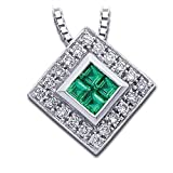 Genuine Emerald and Diamond Necklace in 14k White Gold