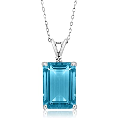 Amazon 972 ct genuine emerald cut swiss topaz gemstone 972 ct genuine emerald cut swiss topaz gemstone birthstone 925 sterling silver pendant necklace with 18 aloadofball Image collections