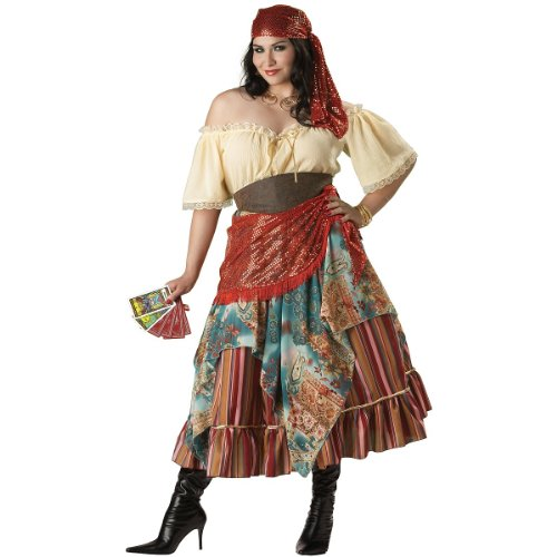 Fortune Teller Costume For Halloween (InCharacter Costumes Women's Plus Size Fortune Teller Costume Tan/Red/Blue, XX-Large)