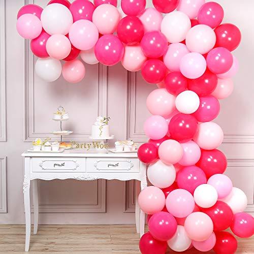 PartyWoo Balloons Pink, 100 pcs 12 Inch Fuchsia Balloons, Pink Balloons, Light Pink Balloons, Hot Pink Balloons, White Balloons for Fuchsia Pink Baby Shower, Fuchsia Pink Girl Birthday, Pink Sweet 16