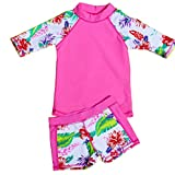 Baby Toddler Girls Two Pieces Swimsuit Set Girls Long Sleeve Bathing Suit Sunsuit Rash Guards UPF 50+(Hot Pink, 4-5T(Height:45.3''-49.2''/115-125cm)/XL)