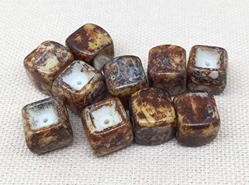 10 Vintage Golden Brown Picasso Austrian Cube Glass Beads 10mm