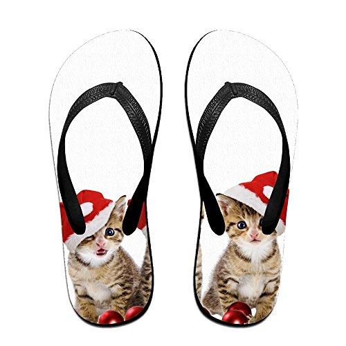 QR FUNK Unisex Christmas Cute Cat Summer Fashion Flip Flops Beach - Kids Haviannas