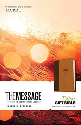 The Message Deluxe Gift Bible (Leather-Look, Brown/Saddle Tan): The
