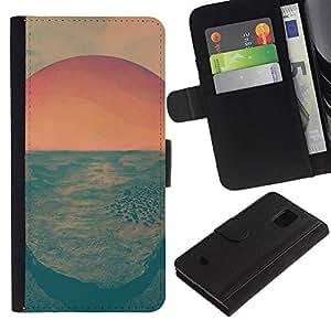 KLONGSHOP // Tirón de la caja Cartera de cuero con ranuras para tarjetas - Salida del sol psicodélica - Samsung Galaxy S5 Mini, SM-G800 //