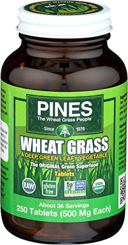 Pines Organic Wheat Grass, 250 Count Tablets