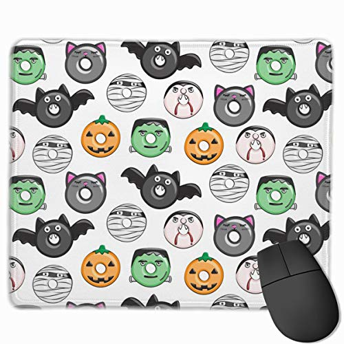 ((1 Scale) Halloween Donut Medley - White - Monsters Pumpkin Frankenstein Black Cat Dracula C18BS Mouse pad Mousepad Nonslip Rubber Backing 10