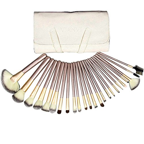 Price comparison product image Mily Silver Rod Makeup Brush Cosmetic Set Kit with Beige Package 24 Piece (Bonus makeup Puff 4 Pcs)