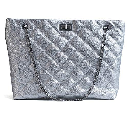 Women's Purses Twist Lock Handbag, Chain Strap Shoulder Bags,Diamond Leather Quilted Crossbody Bags Bobo Satches For Girls Ladies (FL007 Litchi Silver)
