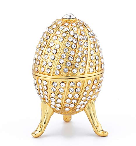 PAIQ Unique Gift Gold Faberge Egg Decoration Box Ring for sale  Delivered anywhere in USA