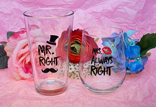 Funny Wedding Gifts - Mr. Right and Mrs. Always Right Novelty Wine Glass & Beer Glass Combo - Engagement Gift for Couples by The Plympton Company (Image #2)