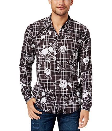 Guess Printed Plaid Shirt - GUESS Men's Long Sleeve Mosh Floral Plaid Shirt, Printed Jet Black, XX-Large