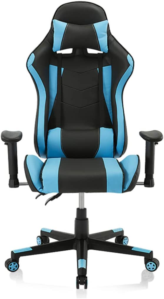 Video Game Chair, Ergonomic Computer Gaming Chair Big and Tall PC Racing Office Chair PU Leather Executive Task Chair Swivel Desk Chair with Adjustable Armrests Headrest and Lumbar Support (Blue)