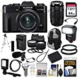 Fujifilm X-T20 Wi-Fi Digital Camera & 15-45mm XC OIS PZ (Black) & 50-230mm Lens + 64GB Card + Backpack + Battery/Charger + Flash + LED & Mic + Lens Kit