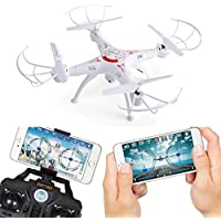 Gotd Upgrated X5SW-1 2.4G 4CH 6-Axis 2 Million FPV RC Drone Quadcopter Wifi Camera Real Time Video 2 Control Modes, White