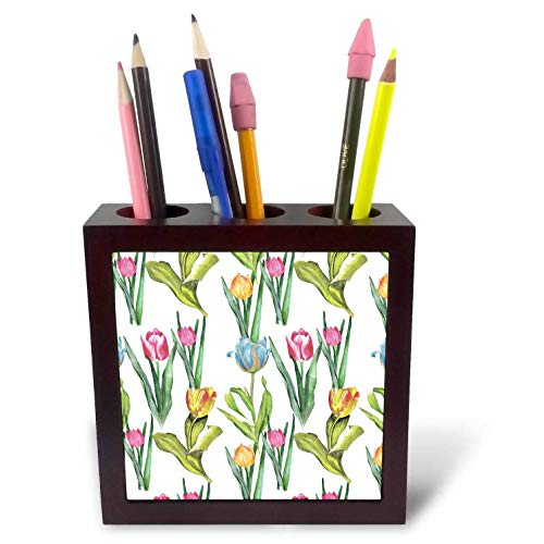 3dRose Anne Marie Baugh - Patterns - Pretty Pink, Orange, and Blue Image of Watercolor Tulip Pattern - 5 inch Tile Pen Holder (ph_317626_1)