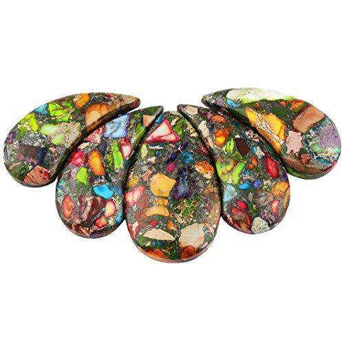 SUNYIK Copper Sea Sediment Jasper Stone Loose Bead Set for Jewelry Making,Top Trilled,Teardrop ()