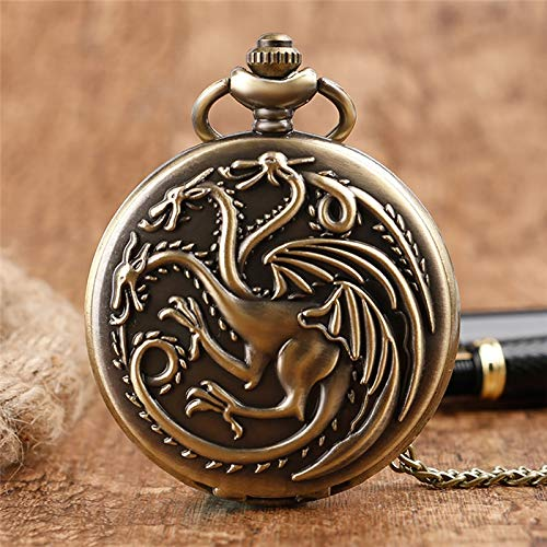 Pocket Watch | Fob Clock | Antique Game of Thrones Family | Crest Winter Design Unique | Gifts Unisex]()